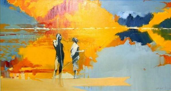 KEITH JOUBERT, CHOBE SUNSET II OIL ON CANVAS