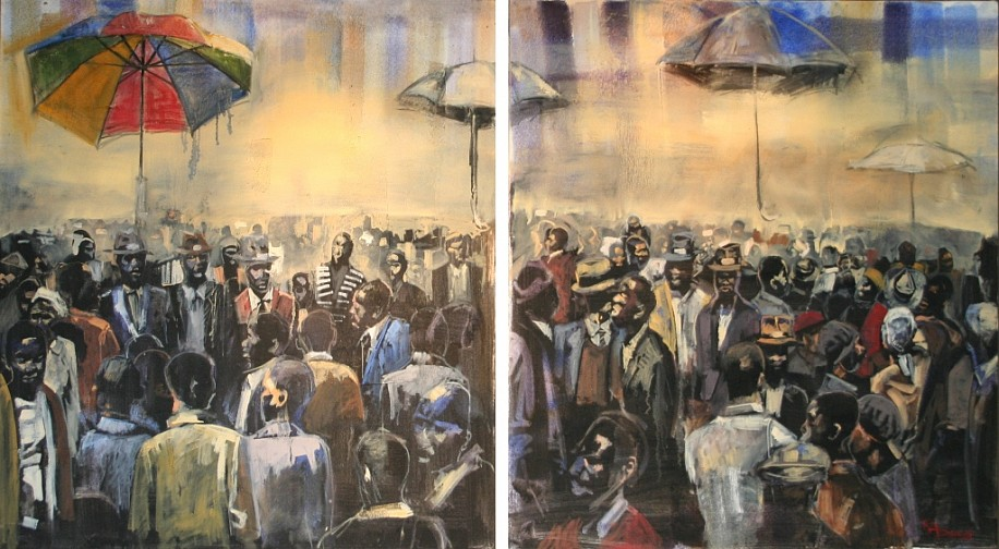 RICKY DYALOYI, CALLING FROM A DISTANT PLAIN (DIPTYCH) 2011, MIXED MEDIA ON CANVAS