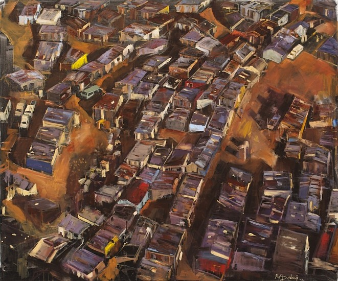 RICKY DYALOYI, AERIAL VIEW MIXED MEDIA ON CANVAS