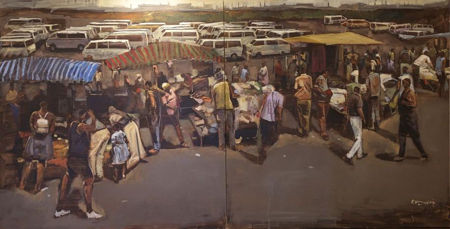 RICKY DYALOYI, THE MARKET PLACE (DIPTYCH) 2015, MIXED MEDIA ON CANVAS