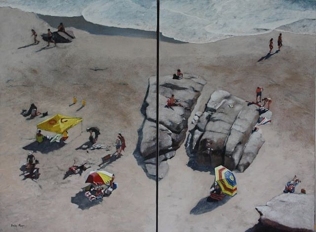 DENBY MEYER, Down on the Beach (Diptych) 2015, Oil on Canvas