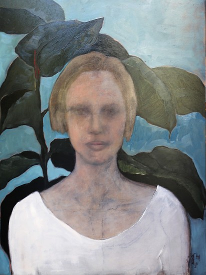 SHANY VAN DEN BERG, WOMAN AND PLANT 2016, OIL ON BOARD