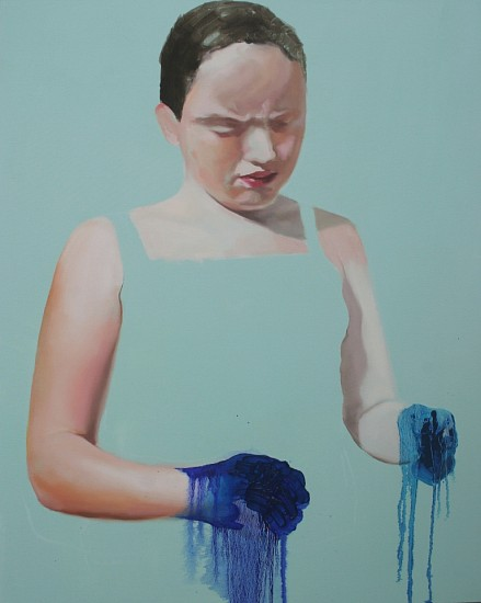 TANYA POOLE, Girl with Blue Hands 2012, Oil on Canvas