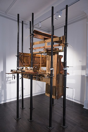 LYNETTE BESTER, Cathedral I 2016, Steel Scaffolding, Steel G-Clamps, Wooden Components From 1930's Stand Up Piano Donated by Ian Burgess-Simpson Muizenberg Pianos