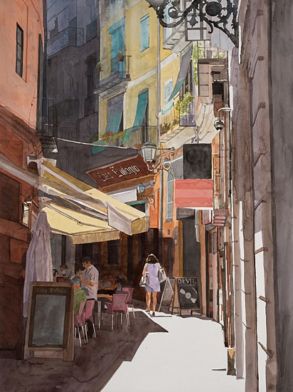 DENBY MEYER, Valencia Summer 2017, Watercolour on Cardboard
