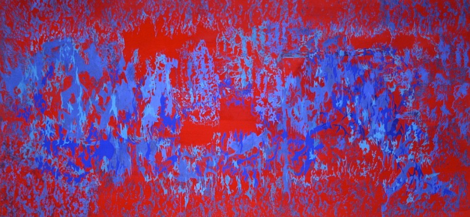 ARABELLA CACCIA, COMPOSITION IN CADMIUM RED AND ULTRAMARINE BLUES 2016, MILK PAINT ON PAPER