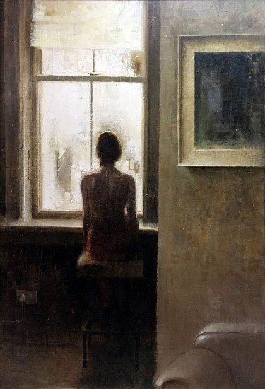 HAROLD VOIGT, WOMAN AT WINDOW, THE RED DRESS Oil on Canvas