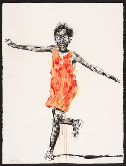 NELSON MAKAMO, ORANGE DRESS 2017, Mixed Media on Paper