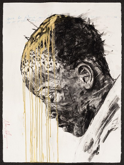 NELSON MAKAMO, ASTONISHED 2017, Mixed Media on Paper
