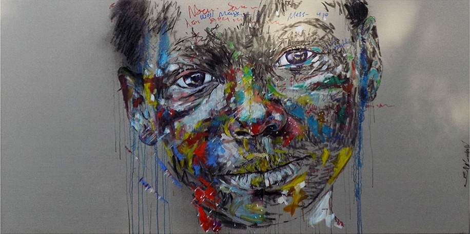 NELSON MAKAMO, POSITIVISM BREEDS HAPPINESS 2018, Mixed Media on Canvas
