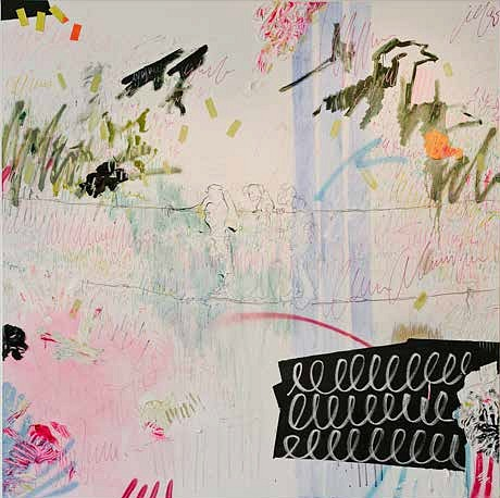 ELIZE VOSSGÄTTER, A VOYAGE OF FOLLY 2017, OIL PAINT, SHARPIES, BEESWAX, PIGMENT, CHALKBOARD PAINT, PENCIL & TAPE ON CANVAS
