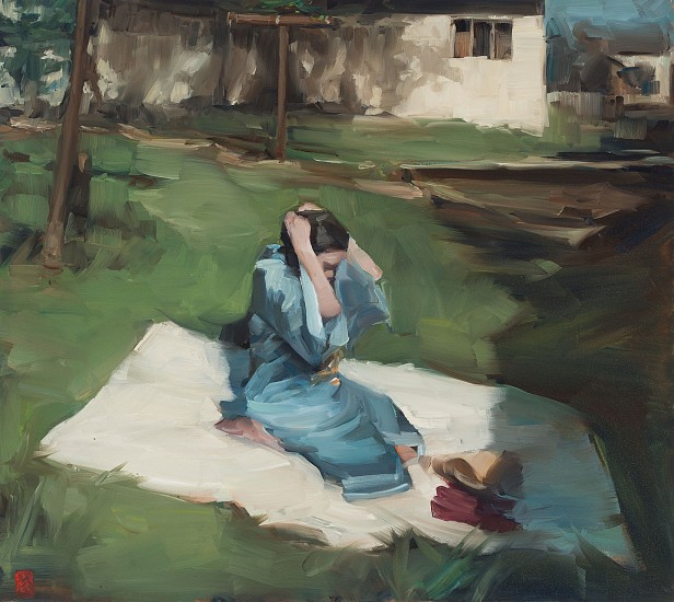 SASHA HARTSLIEF, GIRL ON THE GRASS 2018, Oil on Canvas