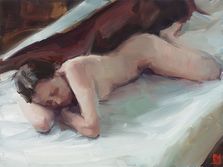 SASHA HARTSLIEF, NUDE WITH RED BLANKET 2018, Oil on Canvas