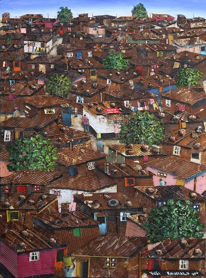 VUSI KHUMALO, LOS ANGELES INFORMAL SETTLEMENT 2018, MIXED MEDIA ON PLYWOOD BOARD