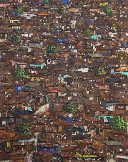 VUSI KHUMALO, KENNEDY ROAD INFORMAL SETTLEMENT 2018, MIXED MEDIA ON PLYWOOD BOARD