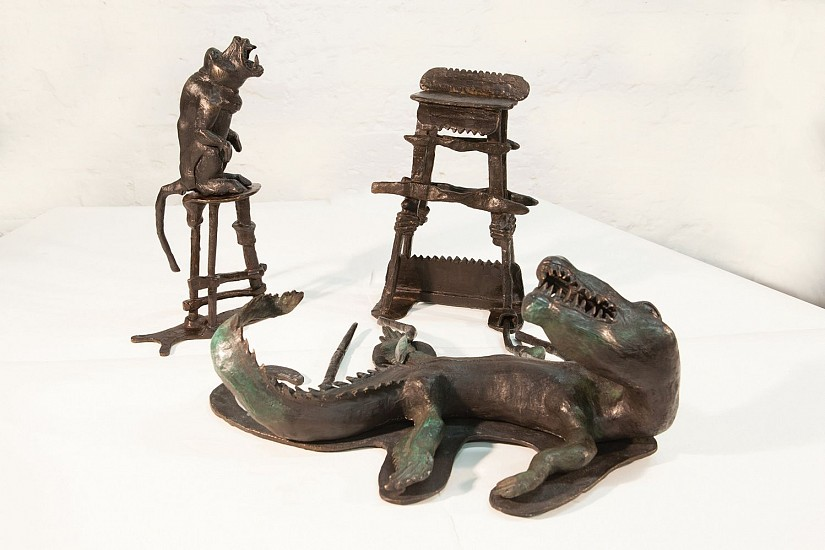 DAVID J. BROWN, SHAFTED, WITH CROCODILE & CHACMA BABOON BRONZE ON STAINLESS STEEL BASE