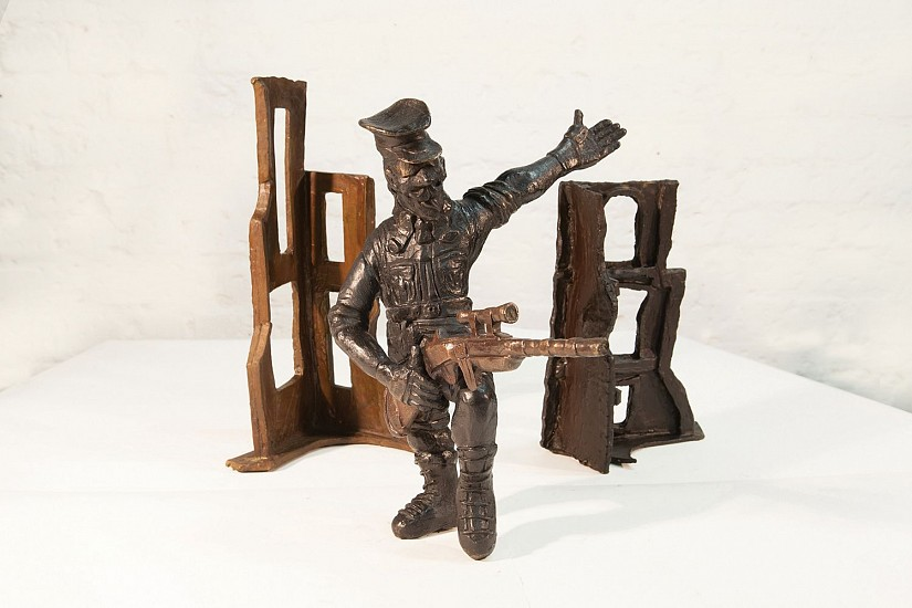 DAVID J. BROWN, SOLDIER AT THE OUTPOST 2 BRONZE ON STAINLESS STEEL BASE