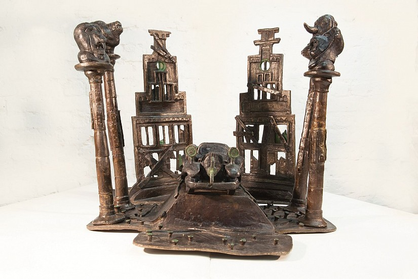 DAVID J. BROWN, WIND-UP CAR WITH MONKEYS, BEAR & PLAGUE MASK STYLITES BRONZE ON STAINLESS STEEL BASE