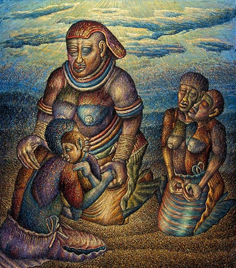 MMAKGABO HELEN SEBIDI, THE GRANDMOTHER RECEIVES THE LOST CHILDREN 2014-2015, Oil on Canvas