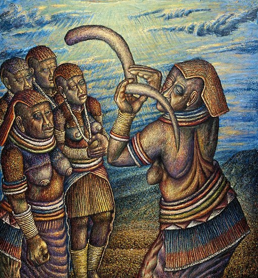 MMAKGABO HELEN SEBIDI, THE PEOPLE ARE CALLED TO SEE THE INITIATES 2014, Oil on Canvas