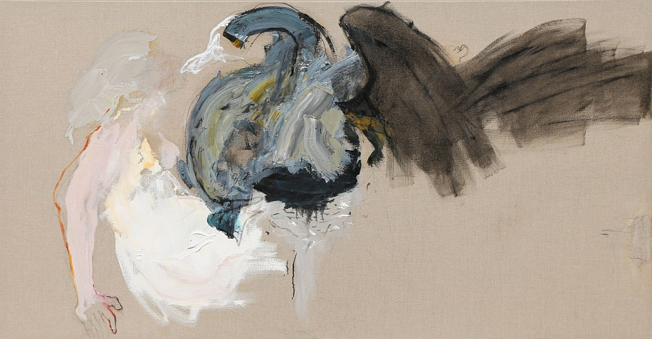 LORIENNE LOTZ, THE SWAN AND LEDA # ME TOO 2019, OIL AND CHARCOAL ON LINEN