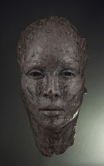 LIONEL SMIT, LARGE MALAY MASK WITH LINES Bronze