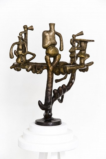 SOPHIA VAN WYK, FERTILITY MENORAH (BLACK AND BRONZE) 2017, BRONZE WITH PAINTED WOODEN BASE