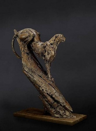 DYLAN LEWIS, CHEETAH SITTING IN A TREE S233 Bronze