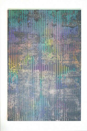 PAOLO BINI, CON NUVOLE IN PRIMO PIANO 2020, ACRYLIC ON HOLOGRAPHIC FILM ON WOOD