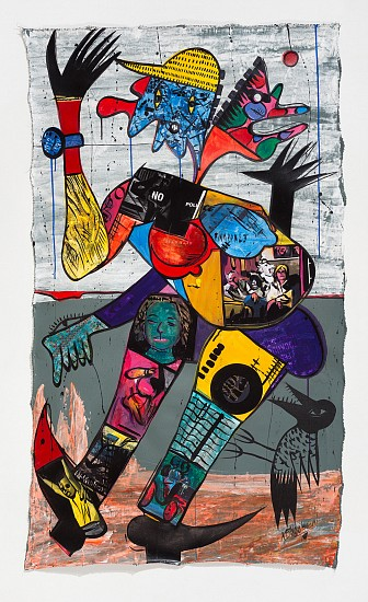 BLESSING NGOBENI, DANCE ON ANCESTRAL ASH 3 2019, ACRYLIC AND COLLAGE ON CANVAS