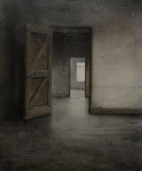 HAROLD VOIGT, DOORWAYS -10/19 2019, CHARCOAL AND MIXED MEDIA ON CANVAS