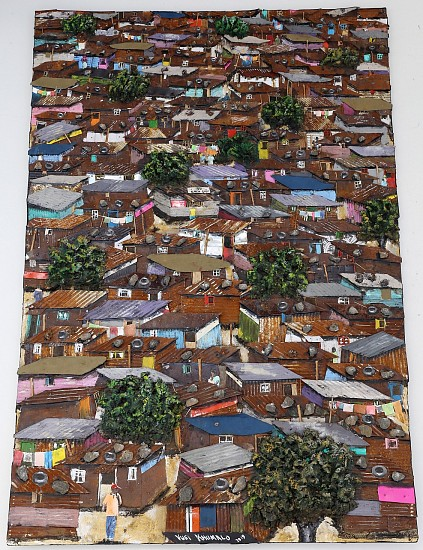 VUSI KHUMALO, LATIN INFORMAL SETTLEMENT 2019, MIXED MEDIA ON BOARD