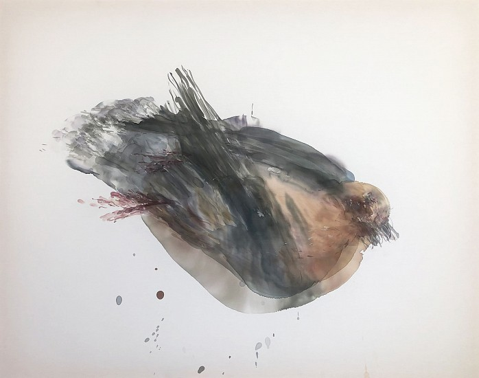 KATHERINE BULL, DEAD DOVE ( THE VISITOR) 2020, INK ON COTTON
