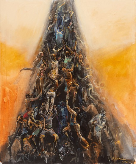 RICKY DYALOYI, STANDING ON GIANTS' SHOULDERS 2020, Mixed Media on Canvas
