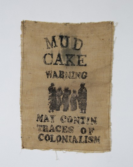 HELENA UAMBEMBE, (MAY CONTAIN TRACES OF) COLONIALISM 2021, HAND PRINT, IMAGE TRANSFER AND COTTON THREAD ON HESSIAN